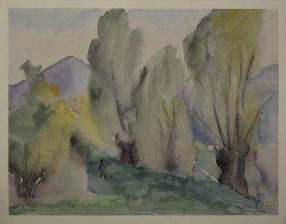 Sonia LEWITZKA (1874-1937)  Promeneur dans un paysage arboré  Aquarelle contrecollée...