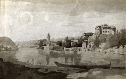Ecole Lyonnaise XIXe siècle  L'île Barbe...