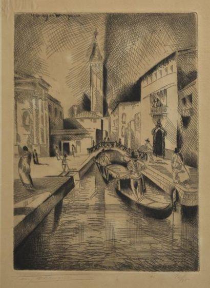 Henry de WAROQUIER (1871-1970)  Venise  Eau...