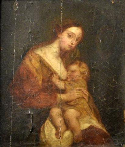 Ecole FRANCAISE du XVIIIe siècle  Femme allaitant...
