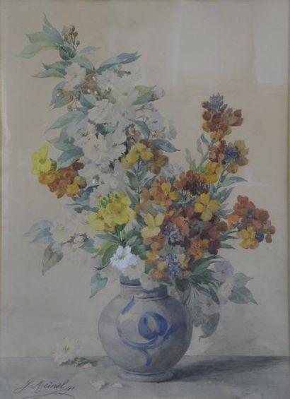 Jeanne MEINEL (XIX-XXe siècle) Fleurs dans...