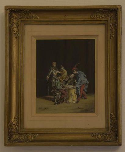 Ecole FRANCAISE du XIXe siècle  Les joueurs...
