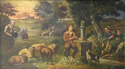 A. GUIRAUD (XIXe siècle)  Le joueur de pipeau...