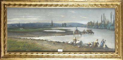 Frédéric LEGRIP (1817-1871)  Les Lavandières...