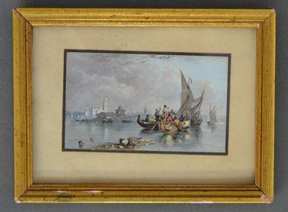 G. DAVIES (XIX-XXe siècle)  Bord de mer en...