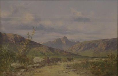 S. PONS (XIXe siècle)  Fermière et ses vaches...