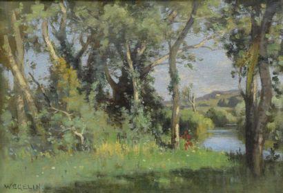Émile WEGELIN(1875-1962)  Bord de rivière...