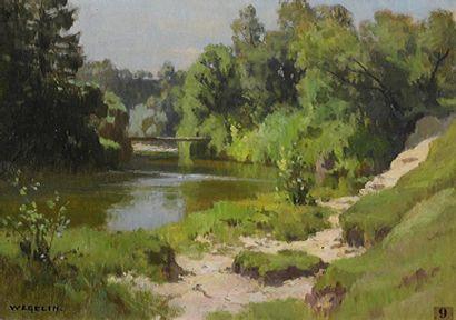 Émile WEGELIN (1875-1962)  Bord de rivière...