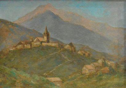 Clément CASTELLI (1870-1959) Village de La Grave au crépuscule Huile sur toile,...