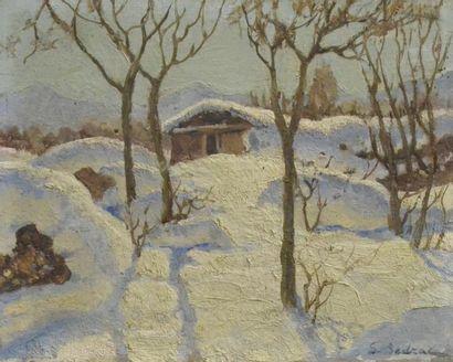 Serge SEDRAC (1878-1974) Chalet sous la neige Huile sur panneau, signée en bas à...