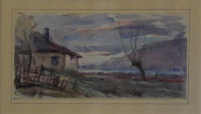 Joannes DREVET (1854-1940)  Paysage  Aquarelle signée en bas à droite  H. 12 cm...