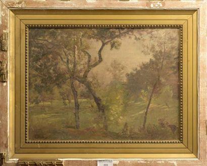 Charles Joseph BEAUVERIE (1839-1924)  Paysage arboré  Huile sur panneau signée en...