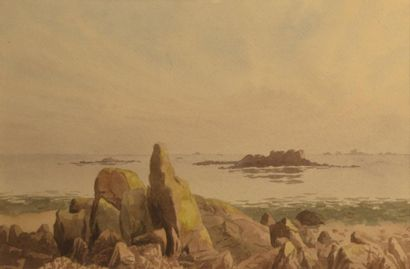 Attribué à Columbano BORDALO-PINHEIRO (1857-1929)  Homena en pé da ponta do Sol,...