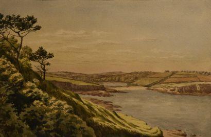 Attribué à Columbano BORDALO-PINHEIRO (1857-1929)  Porto Moniz?, île de Madère  Aquarelle...