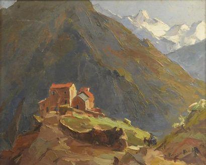 Pierre BACH (1906-1971)  Vue de Corse  Huile...