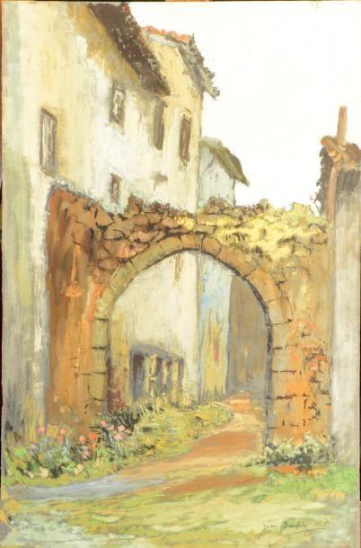 Jean BARBIER (1901-1999)  Les escaliers - Le porche  Deux gouache signées  H. 50...