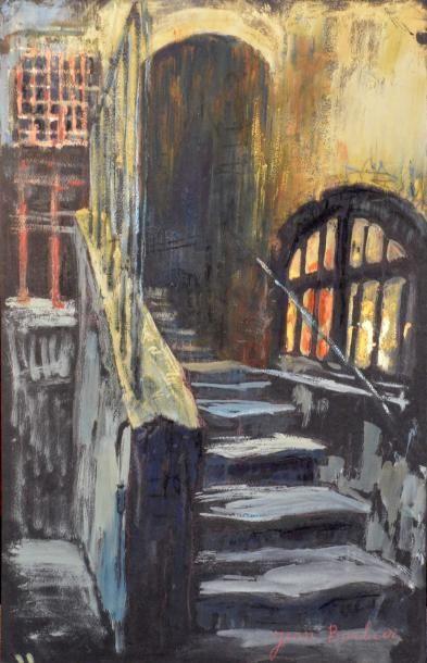 Jean BARBIER (1901-1999)  L'entrée de l'église - Les escaliers  Deux gouache signées...