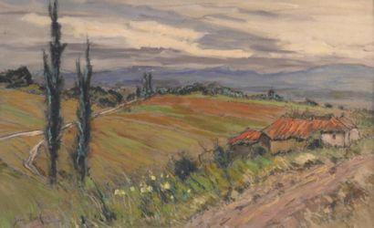 Jean BARBIER (1901-1999)  Paysage du Lyonnais  Deux gouaches et fusain signés  H....