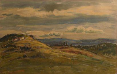 Jean BARBIER (1901-1999)  Paysage du Lyonnais - Sous bois  Deux aquarelles gouachées...