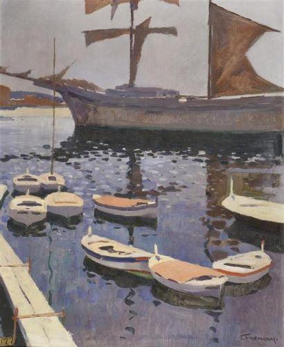 François FRENAY (1893-1973)  Port  Huile sur toile, signée en bas à droite, titrée...