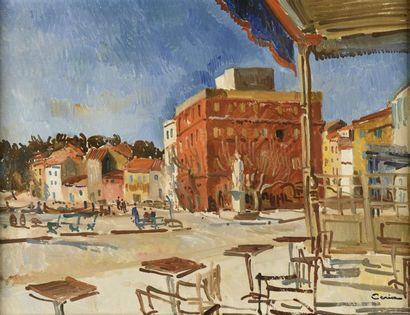 Edmond CERIA (1884-1955)  Place d'une ville d'Italie sous le soleil  Huile sur toile,...