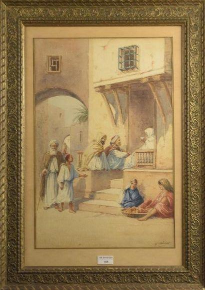 Marcel BLAIRAT (né en 1849)  Scène villageoise d'Afrique du Nord  Aquarelle signée...