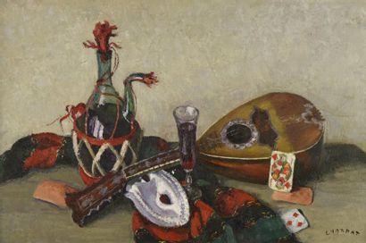 Louis CHARRAT (1903-1971)  Nature morte à la mandoline et à la bouteille de Chianti...