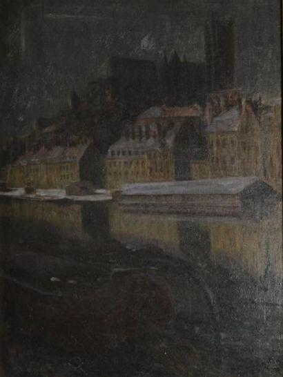 ARNOULD-MOREAUX (né en 1875)  Péniche dans une ville du Nord  Huile sur toile, signée...