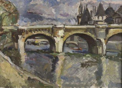Fanny BUNAND-SEVASTOS (1905-1998)  Paris, le Pont Neuf  Huile sur toile, signée...