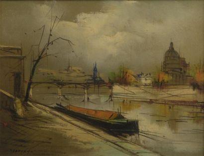 SARTONY (XXe siècle)  Quai de Seine  Huile...