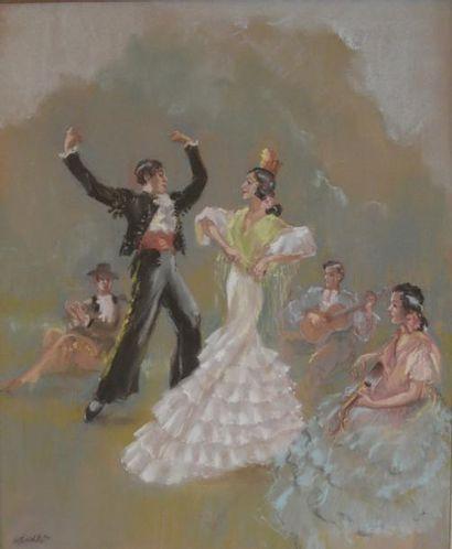 Frédéric MENKES, Ecole Française du XXème siècle  Danseurs de flamenco  Pastel signé...