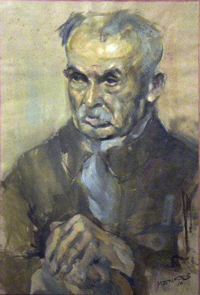 Frédéric MENKES (XXe siècle)  Vieil homme  Aquarelle signée en bas à droite  H....