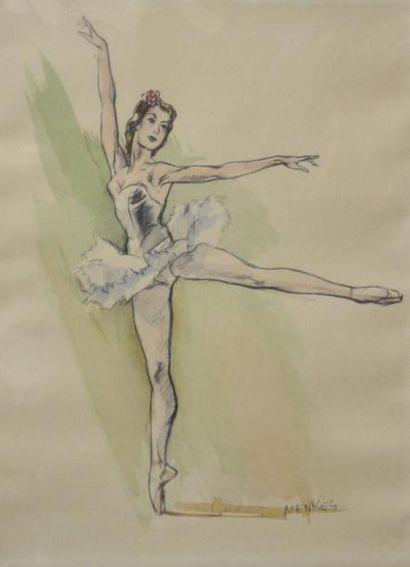 Frédéric MENKES, Ecolé Française du XXe siècle  Danseuses  Suite de quatre aquarelles...