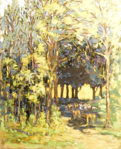 Lucien GENET (1878-1970)  Sous bois animé...