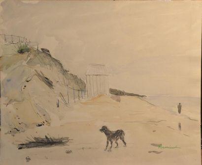 ARMINOT (XXe siècle)  La plage - La dune - Le parasol rouge  Trois aquarelles signées,...