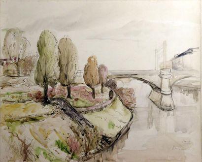 ARMINOT (XXe siècle)  Chartenton - Paysage...