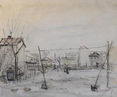 ARMINOT (XXe siècle)  L'étendage - La plage...
