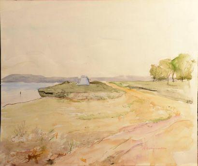 ARMINOT (XXe siècle)  L'étendage - La plage en Bretagne - Bord de rivière  Trois...