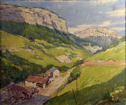 Yvan ESCRIBE (XXe siècle)  Paysage de motagne  Huile sur toile signée en bas à droite...