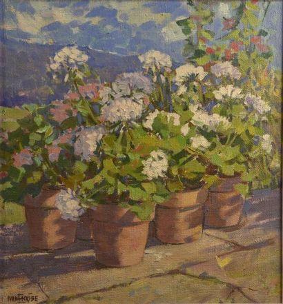 Yvan ESCRIBE (XXe siècle)  Fleurs  Huile...