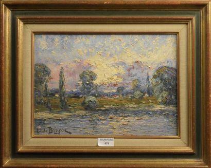 Emile BREYSSE (1880-1965)  Bord de rivière  Huile sur isorel, signée en bas à gauche...