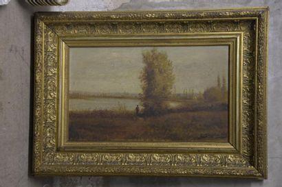 Clovis TERRAIRE (1858-1931)  Paysage lacustre...