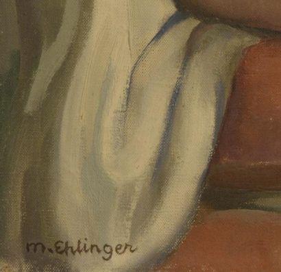 Maurice-Ambroise EHLINGER (1896-1981)  Femme nue au bouquet de fleur  Huile sur...