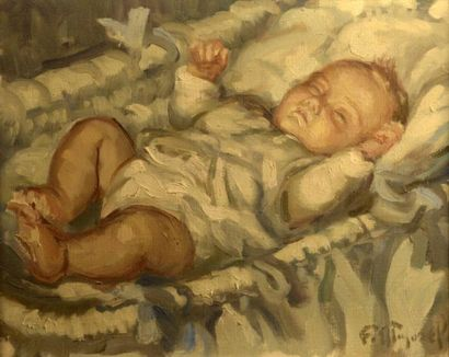 Fernand MAJOREL (1898-1965)  Bébé dans son...