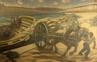 Adrien GODIEN (1873-1949)  Le déchargement...
