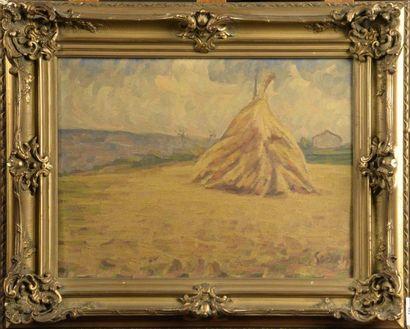 Adrien GODIEN (1873-1949)  La meule de foin...