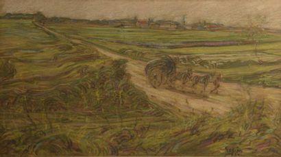 Adrien GODIEN (1873-1949)  Attelage dans...