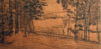 Adrien GODIEN (1873-1949)  Paysage  Fusain...