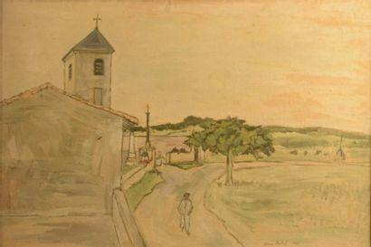 Pierre PALUÉ ( Né en 1920)  Vue du village...