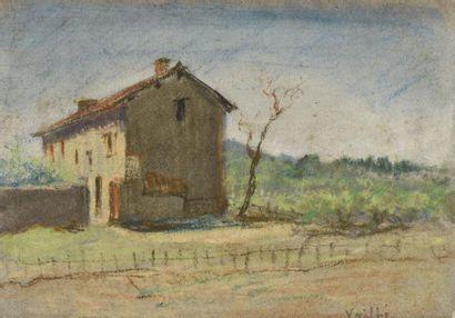 Ecole MODERNE  Maison dans un paysage  Pastel,...